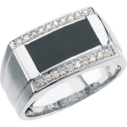 Mens 14K White Gold And Black  Diamond Ring  Size 12 5  1 4 Cttw  G Color  I1 Clarity