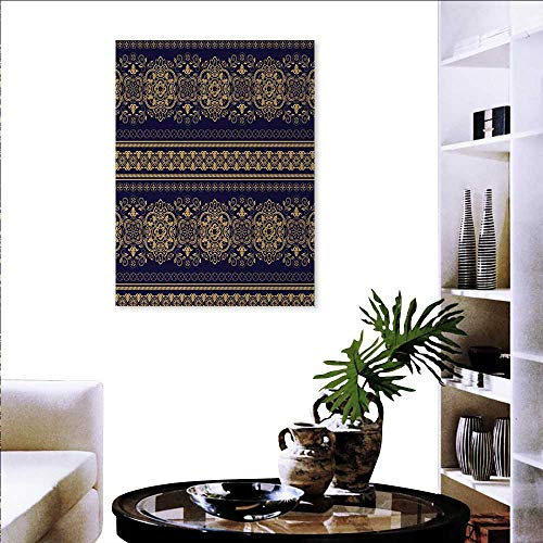 Turkish Pattern Modern Wall Art Living Room Decoration Damask Style Medieval Flowers Rich Details Horizontal Borders Wall Art Canvas Prints 20