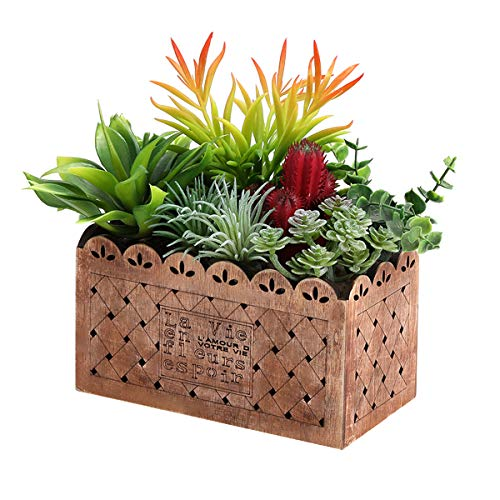 G-XMZZ Artificial Succulent Planter, Fake Plants in Rectangular Wooden Planter Box for Home, Wall, Desk, Indoor, Outdoor Decor(Brown Wooden Tray)