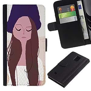 A-type (Retrato de la muchacha Ojos cerrados Sombrero Arte Dibujo) Colorida Impresión Funda Cuero Monedero Caja Bolsa Cubierta Caja Piel Card Slots Para Samsung Galaxy Note 4 IV