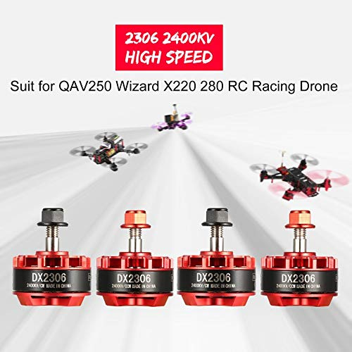 Wikiwand 4Pcs DX2306 2400KV 2-4S CW/CCW Brushless Motor for RC QAV250 280 Racing Drone by Wikiwand (Image #2)
