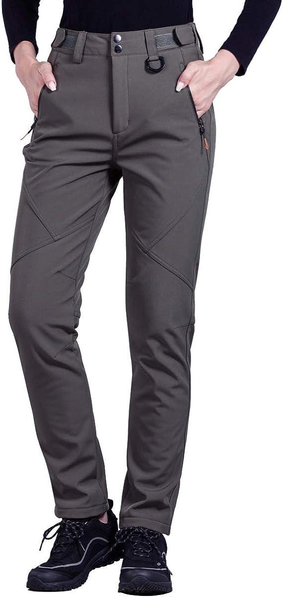 FREE SOLDIER Outdoor Women's Water Resistant Windproof Softshell Pants Hiking Snow Ski Fleece Lined Pants