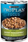 Cheap Purina Pro Plan Wet Dog Food, Focus, Adult Weight Management Turkey & Rice Entre Morsels in Gravy, 13-Ounce Can, Pack of 12
