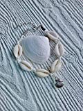Cowrie shell and sea glass bracelet.