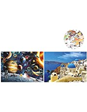 Sangmei 1000 Piece Puzzles Space Tourist + 1000 Piece Puzzles Aegean Sea Drawing for Adults Kids Educational Jigsaw Puzzle Family Game Home Decoration