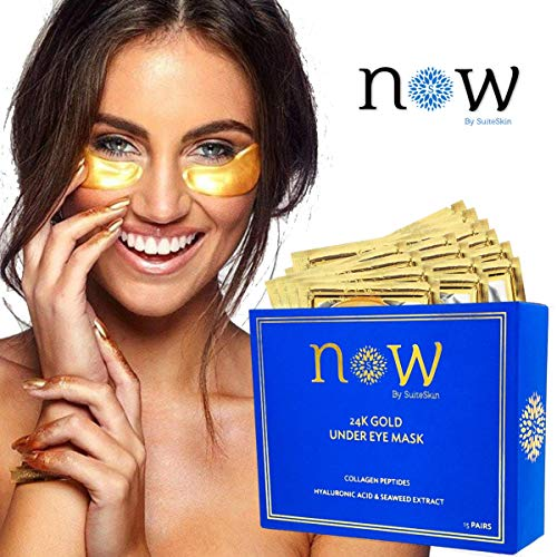 Under Eye Patches - 24K Gold Eye Mask Treatment Pads - Reduces Dark Circles, Puffy Eyes & Wrinkles Fast - 15 Pair