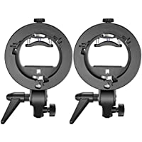 Neewer 2 Packs S-Type Bracket Holder with Bowens Mount for Speedlite Flash Snoot Softbox Beauty Dish Reflector Umbrella