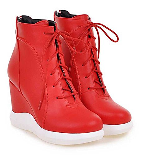 CHFSO Womens Fashion Solid Round Toe Lace Up High Wedge Heel Ankle Boots Red 6WuSG
