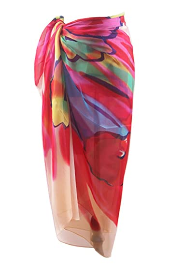 df06fa7eee9 MissShorthair Womens Chiffon Swimwear Plus Size Bathing Suit Cover Ups Beach  Sarong Wrap at Amazon Women s Clothing store