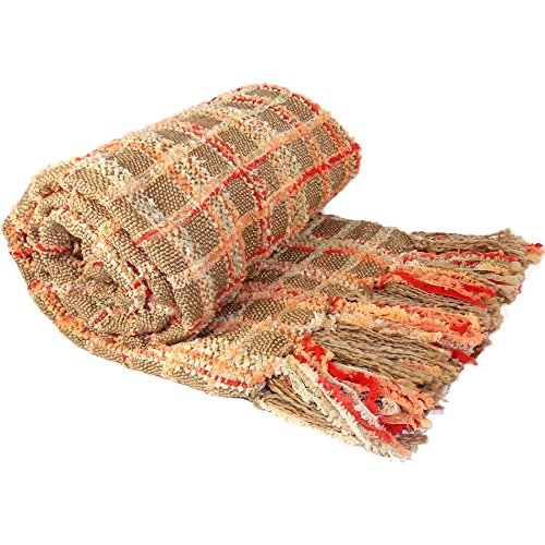 """516WMndZxGL - BOON Multi-Color Chenille Couch Throw Blanket, 50"""" x 60"""", Burnt Orange"""