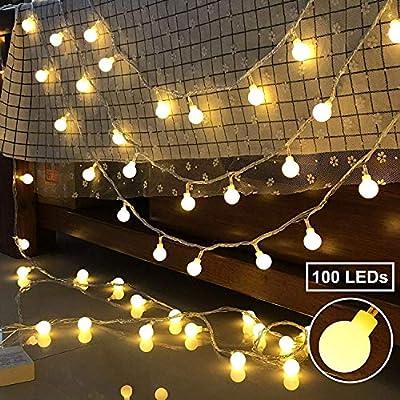 BeauFlw Cadena de Luces - Guirnalda Luces 10M 100 LED 8 Modos - Guirnalda Luces Pilas Decoración Interior, Jardines, Casas, Boda, Fiesta de Navidad (Blanco cálido): Amazon.es: Iluminación