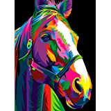 """iCoostor Paint by Numbers DIY Acrylic Painting Kit for Kids & Adults Beginner – 16"""" x 20"""" Colorful Horse Pattern"""