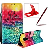 Strap Leather Case for Huawei Mate 20 Pro,Wallet Flip Case for Huawei Mate 20 Pro,Herzzer Stylish Elegant 3D Sunrise Scenery Pattern Magnetic Stand Shockproof Folio PU Leather Case with Soft TPU
