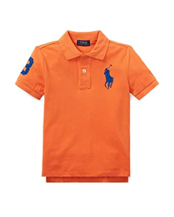 8f39ba83 Image Unavailable. Image not available for. Color: Polo Ralph Lauren Boys  Big Pony & Number on Sleeves 100% Cotton(2-
