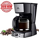 Posame Electric Coffee Makers-12 Cup Programmable Smart Drip Coffee Maker Brew Machine with 1.6QT Glass Carafe Black, LED Digital Screen, Removable Mesh Filter Basket, Black/Stainless Steel