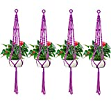 Accmor 4 Pack Macrame Plant Hanger, 4 Legs 39 inch Pure Handmade Cotton Rope Indoor Outdoor Balcony Patio Deck Ceiling Planter Basket Holder for Round & Square Pots(Purple Mix White)