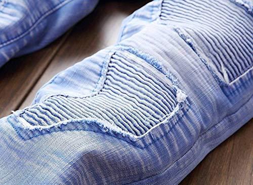 Cintura Vita Especial Strappati A Uomo Senza Bobo Jeans 88 Distrutti Casual Estilo Media Pantaloni Moto Blu Da UqXRwB