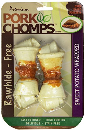 Scott Pet Products Pork Chomps Premium 2 Count Knotted Bone With Sweet Potato, 4-Inch