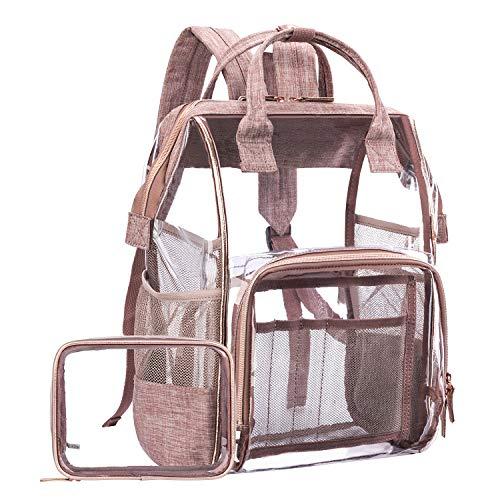 LOKASS Large Clear BackpackTransparent PVC Multi-Pockets School Backpacks/Outdoor Backpack Fit 15.6 inch Laptop Safety Travel Rucksack with Rose Gold Trim-Adjustable Straps & Mesh Side(Rose Gold)