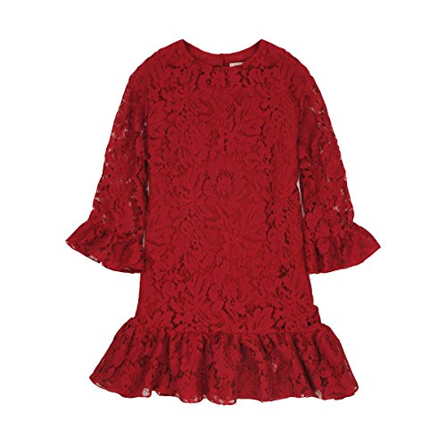 Flower Girl Dress Lace Toddler Country Dresses Wedding Party (3T, (Red Girls Dress)