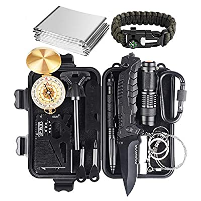 JINAGER Gifts for Men, Upgraded Survival Gear Kit 16 in 1 for Dad, Fishing Hunting Camping Birthday Gifts Ideas for Him Boyfriend, Emergency Tool Gift Ideas for Teen Boy Husband from JINAGER