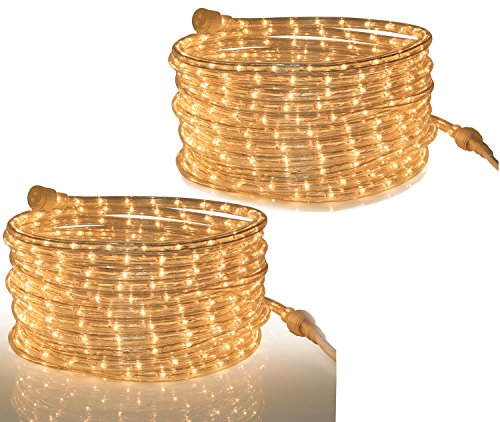 Tupkee Rope Light Clear Indoor Outdoor use, 24 Feet (7.3 m) - 10MM Diameter - 288 Clear Incandescent Long Life Bulbs Rope Lights - Pack of 2