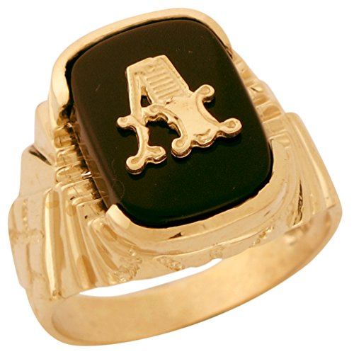 10k Solid Gold Fancy Nugget Design Onyx Letter A Mens Initial Statement Ring -