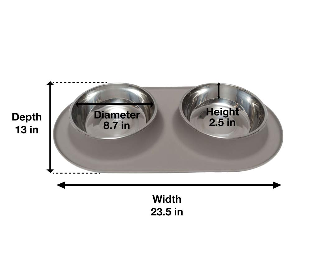 Messy Mutts Silicone Double Dog Feeder Large//Grey
