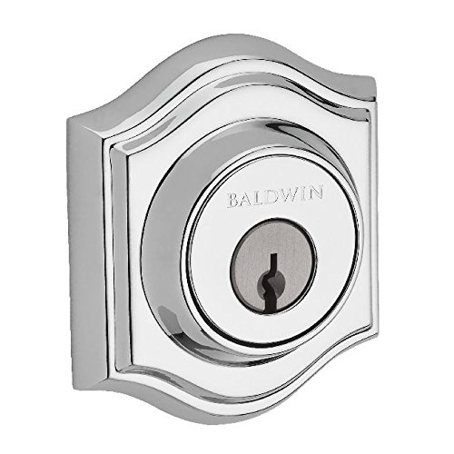 Baldwin Reserve SCTAD260S Single Cylinder Traditional Arch Deadbolt with Smartkey Bright Chrome Finish ()