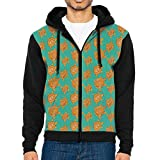 Joapron Sea Turtle Emerald Green Brownish Gold Pattern Men's Zipper Splicing Overcoat Belt Hat and Pocket XXL