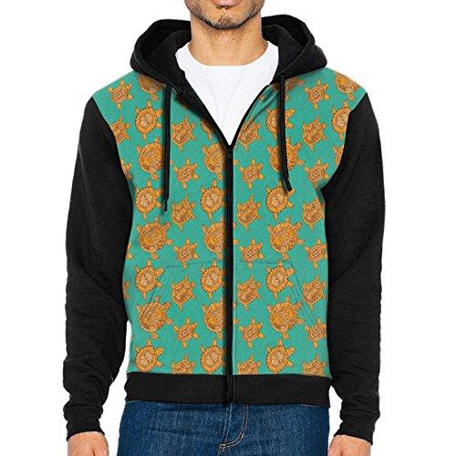 Four Paws Vita Greens (Joapron Sea Turtle Emerald Green Brownish Gold Pattern Men's Zipper Splicing Overcoat Belt Hat and Pocket XXL)