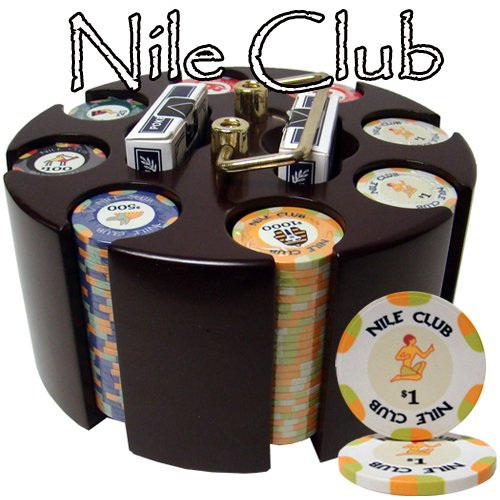 200 Ct Nile Club 10 Gram Ceramic Poker Chip Set in Wooden Carousel