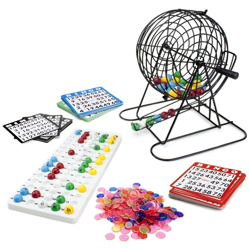 Jumbo Bingo Set - 9-Inch Metal Cage with Calling Board, 75 Colored Balls, 500 Bingo Chips, & 100 Bingo Cards for Large Group Games ()