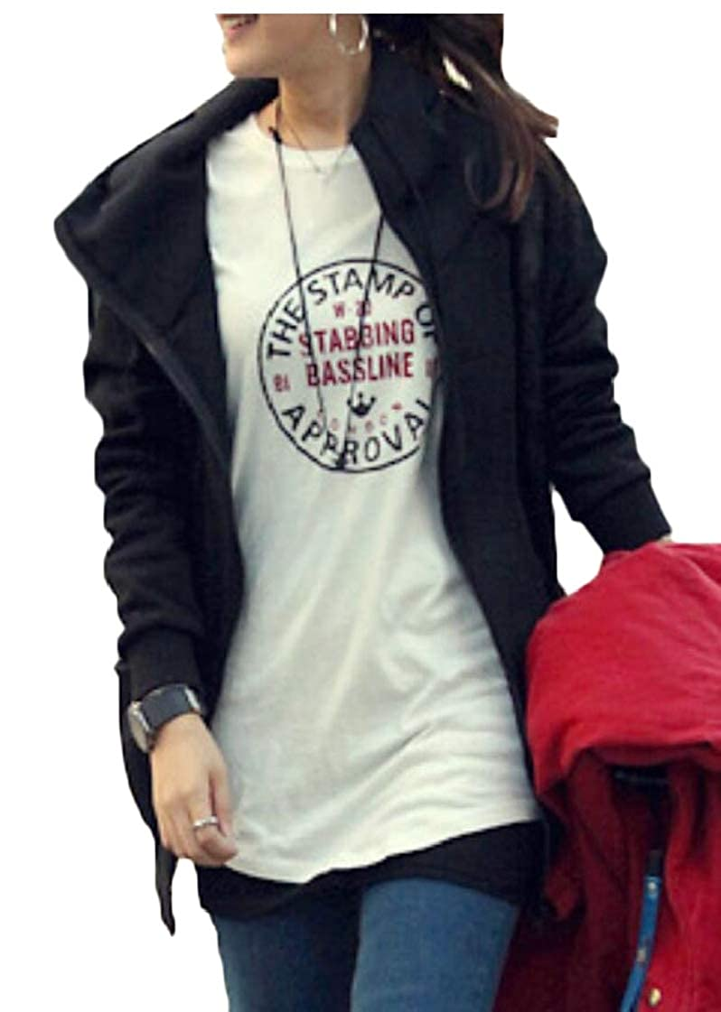 M/&S/&W Womens Cowl Neck Turtleneck Zipper Hoodie Jacket Sweatshirt Sweater Coat