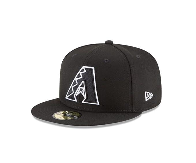 5938c4324ad New Era 59Fifty Hat MLB Basic Arizona Diamondbacks Black White Fitted  Baseball Cap (6