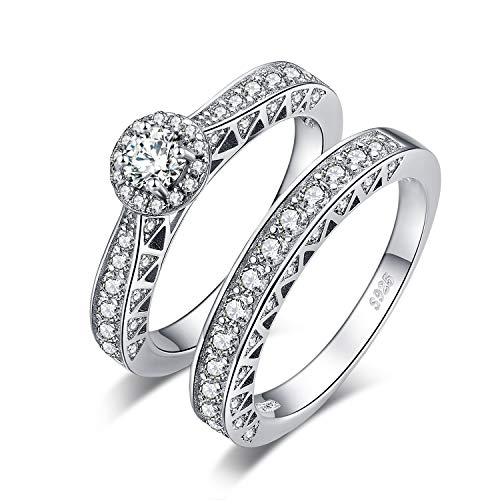 JewelryPalace Vintage Cathedral Wedding Rings Wedding Bands Halo Engagement Rings For Women Anniversary Promise Ring Channel Bridal Sets 925 Sterling Silver 2.4ct Cubic Zirconia Size ()
