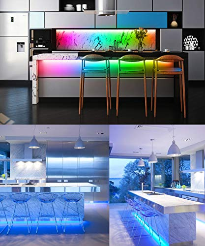 Smart LED Strip Lights, MINGER Dream Color Changing Light Strip Music Sync with Brighter 5050 LEDs and Strong Adhesive Tape, Works with Controller and Phone App Waterproof for Indoor Outdoor, 32.8ft by MINGER (Image #6)