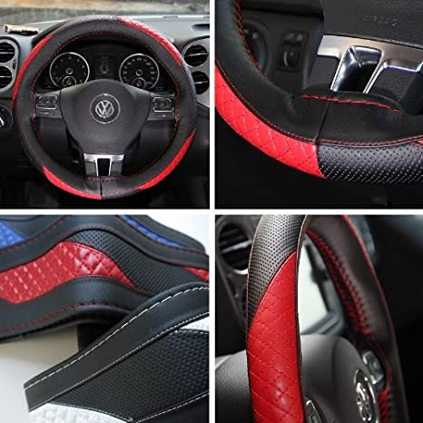 Amazon Com Circle Cool 47010 Black And Red Pvc Leather Steering