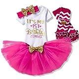TTYAOVO Newborn Girls It's My 1st Birthday 4 Pcs Outfits Romper+Skirt+Headband+Leggings Size (1) 1 Years Rose