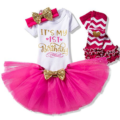 (TTYAOVO Newborn Girls It's My 1st Birthday 4 Pcs Outfits Romper+Skirt+Headband+Leggings Size (1) 1 Years)
