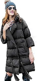 Giacca Invernale da Donna Effetto Piumino Caldo Eccellente Oversized Nappa Piumino Femmina Sezione Media E Lunga Giacca da Sci,Black,L LXZ