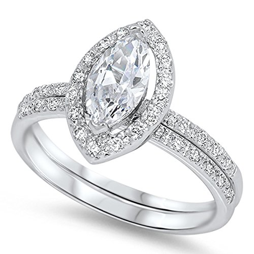 Prime Jewelry Collection Sterling Silver Women's Colorless Cubic Zirconia Marquise Halo Micro Pave Wedding Set Ring (Sizes 5-10) (Ring Size 5) -