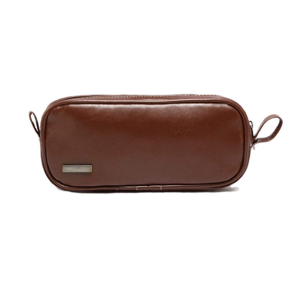 Mocase Universal Travel PU Leather Case for Small Electronics and Accessories Travel Organizer / Carrying Bag, Brown