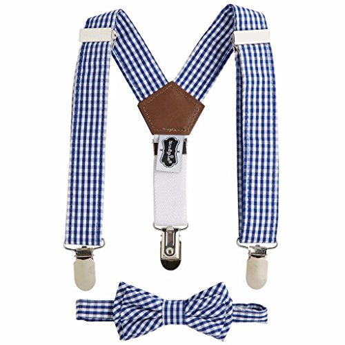 Mud Pie Little Gentleman Bow Tie and Suspender Set, Navy Gingham