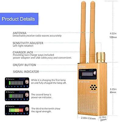 RF Signal Detector, Hidden Device Detector Full Range Wireless Anti-Spy Bug Detector GSM GPS Tracker Device Finder Detector Audio Bug Detect Hidden Camera with LED Flashing(G319A Gold) : Camera & Photo