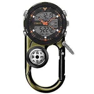 Watch Clip, Analog Digital Sports Waterproof Pocket Clip Watch, Moss Green