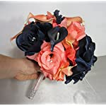 Coral-Navy-Blue-Rhinestone-Rose-Calla-Lily-Bridal-Wedding-Bouquet-Boutonniere