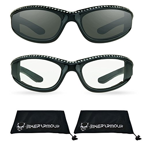 Rhinestone Motorcycle Sunglasses Foam Padded for Women. (Smoke Black + Clear Black - Glasses Womens Motorcycle