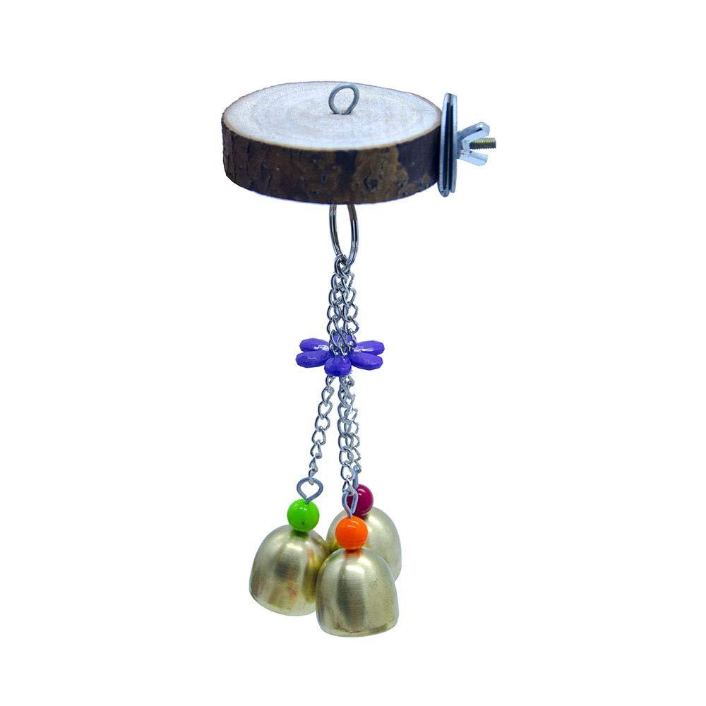 Pet Online Log Perch Standing Platform Parred Bell Station Bird Toy