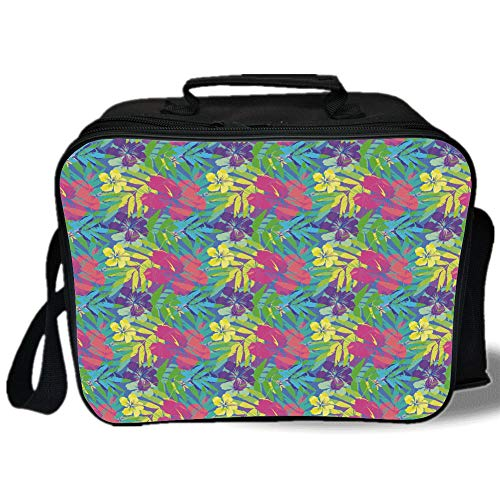 Leaf 3D Print Insulated Lunch Bag,Abstract Vivid Rainbow Neon Colored Island Jungle Flowers Blossoms Leaves Art Print Decorative,for Work/School/Picnic,Multicolor (Bottle Hamster Colored)